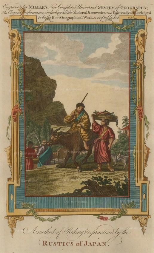 "Millar: Rustic of Japan. 1770. A hand coloured original antique copper engraving. 7"" x 11"". [SEASp727]"