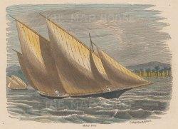 "Illustrated London News: Malay Proa. c1890. A hand coloured original antique wood engraving. 6"" x 5"". [SEASp876]"