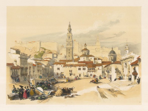 "Roberts: The Market Place, Carmona. 1837. A hand coloured original antique lithograph. 16"" x 11"". [SPp653]"