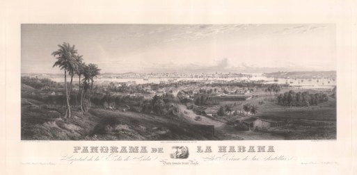 Cuba: Panoramic view from Regla over Havana towards the bay. After a daguerreotype by G.B. Haase.