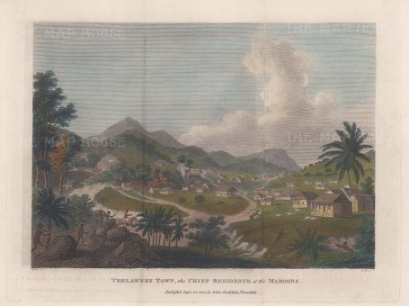 Jamaica: Trewlawney Town (Maroon Town). View of the early settlement.