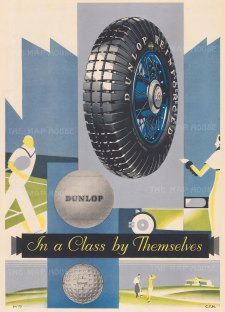 Dunlop Tyres: In a Class by Themselves. With silver highlighting.