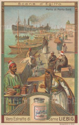 "Liebig's Extract: Port Said, Suez. c1900. An original antique chromolithograph. 3"" x 4"". [EGYp1030]"