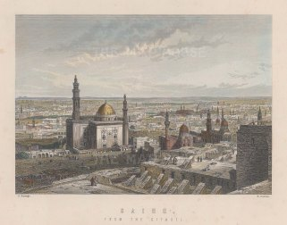 "Ramage: Cairo. c1860. A hand coloured original antique steel engraving. 8"" x 7"". [EGYp1034]"