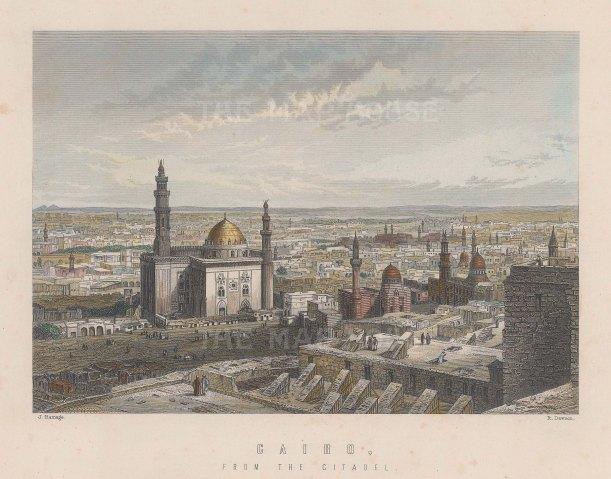 "Ramage: Cairo. c1860. A hand coloured original antique steel engraving. 8"" x 7"". [EGYp1034]"