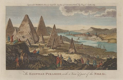 "Bankes: Giza. c1780. A hand coloured original antique copper engraving. 11"" x 8"". [EGYp1045]"