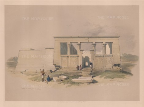 "Roberts: Wady Dabod Temple, Nubia. 1848. A hand coloured original antique lithograph. 15"" x 11"". [EGYp1076]"