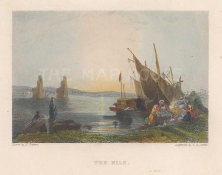 "Warren: Nile River. c1830. A hand coloured original antique steel engraving. 5"" x 4"". [EGYp1101]"