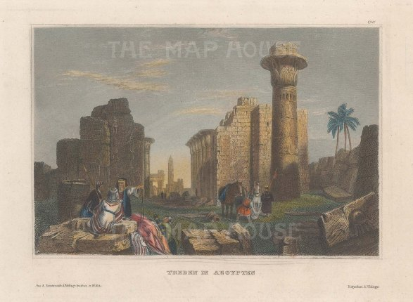 """Meyer: Column of Tarhaqa, Thebes. 1830. A hand coloured original antique steel engraving. 6"""" x 4"""". [EGYp1106]"""