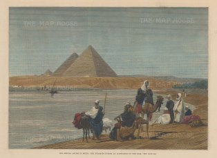 """Illustrated London News: Giza. 1882. A hand coloured original antique wood engraving. 12"""" x 9"""". [EGYp1118]"""
