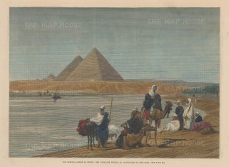 "Illustrated London News: Giza. 1882. A hand coloured original antique wood engraving. 12"" x 9"". [EGYp1118]"
