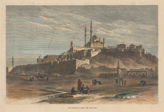 "Illustrated London News: Saladin Citadel, Cairo. 1881. A hand coloured original antique wood engraving. 12"" x 9"". [EGYp1119]"