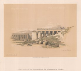 "Roberts: Temple of Typhonoeum, Dendera. 1848. A hand coloured original antique lithograph. 15"" x 11"". [EGYp1139]"