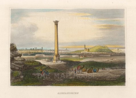 Panorama of Alexandria: Looking towards the sea with Pompey's Pillar in the foreground.