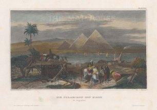 "Meyer: Giza. 1839. A hand coloured original antique steel engraving. 6"" x 4"". [EGYp1147]"