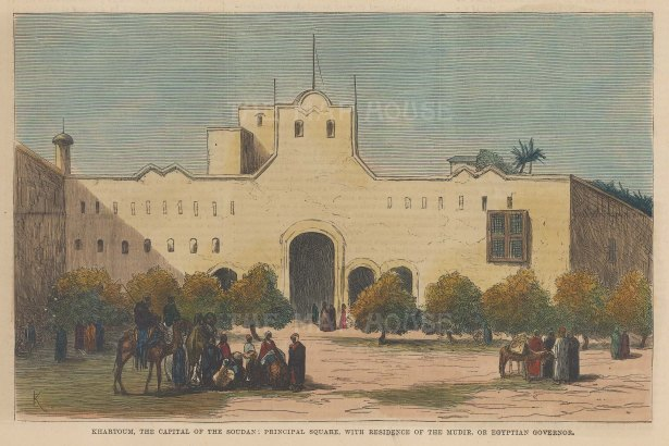 "Illustrated London News: Governor's Palace, Khartoum. 1883. A hand coloured original antique wood engraving. 14"" x 10"". [EGYp1156]"