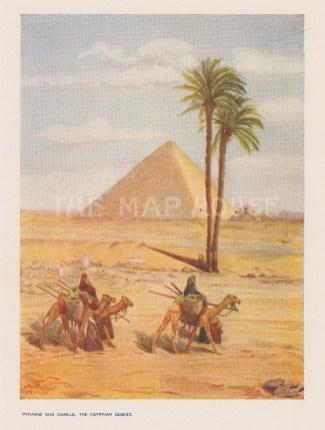 "Fox: Giza. 1914. An original antique chromolithograph. 4"" x 6"". [EGYp1160]"