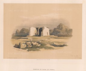"Roberts: Temple of Tafa, Nubia. 1833. A hand coloured original antique lithograph. 15"" x 11"". [EGYp231]"