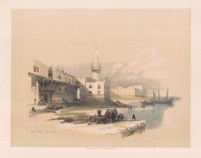"""Roberts: Quay of Suez. 1845. A hand coloured original antique lithograph. 15"""" x 12"""". [EGYp549]"""