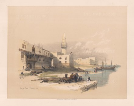 "Roberts: Quay of Suez. 1845. A hand coloured original antique lithograph. 15"" x 12"". [EGYp549]"