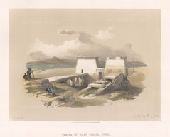 "Roberts: Temple of Wady Saboua, Nubia. 1847. A hand coloured original antique lithograph. 14"" x 10"". [EGYp572]"
