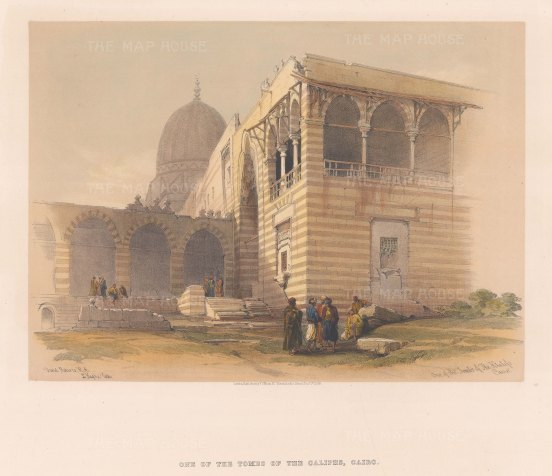 "Roberts: Tombs of the Caliphs, Cairo. 1848. A hand coloured original antique lithograph. 15"" x 11"". [EGYp744]"