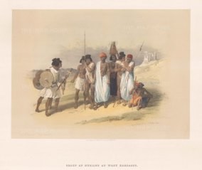 "Roberts: Wady Kardassy, Nubia. 1847. A hand coloured original antique lithograph. 15"" x 11"". [EGYp837]"