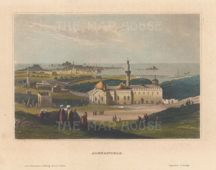 "Meyer: Alexandria. 1836. A hand coloured original antique steel engraving. 6"" x 4"". [EGYp999]"