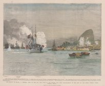 Rio de Janeiro: Bombardment of the harbour by Admiral Mello during the naval revolts. With text and key to ships.