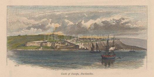 """Picturesque Mediterranean: Rumelihisarı (Castle of Europe), Bosphorus. c1880. A hand coloured original antique wood engraving. 7"""" x 3"""". [TKYp1067]"""