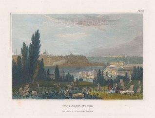 "Meyer: Istanbul. c1836. A hand coloured original antique steel engraving. 6"" x 4"". [TKYp1252]"