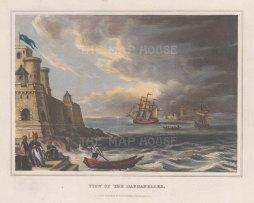 "Kelly: Rumelihisarı and Anadoluhisarı (Castles of europe and Asia), Bosphorus. 1832. A hand coloured original antique lithograph. 9"" x 7"". [TKYp1276]"