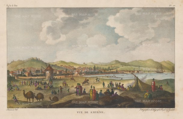 Smyrna: Panoramic view of the city. Scarce lithographic example after Chouseul de Gouffier.