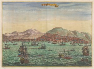 Smyrna: Panorama of the port and city from the Aegean.