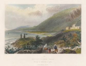 """Bartlett: Issus (Iskenderun). 1838. A hand coloured original antique steel engraving. 8"""" x 5"""". [TKYp1332]"""