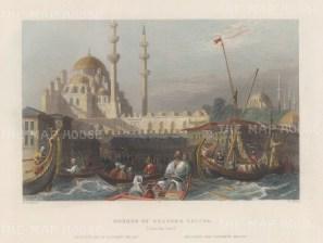 "Bartlett: Mosque of Sultana Valida, Istanbul. 1838. A hand coloured original antique steel engraving. 8"" x 5"". [TKYp1335]"