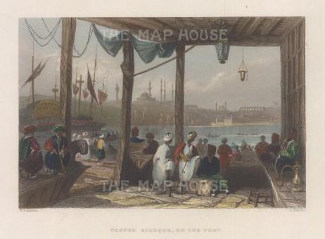 "Bartlett: Coffee Kiosk, Istanbul. 1838. A hand coloured original antique steel engraving. 8"" x 5"". [TKYp1342]"