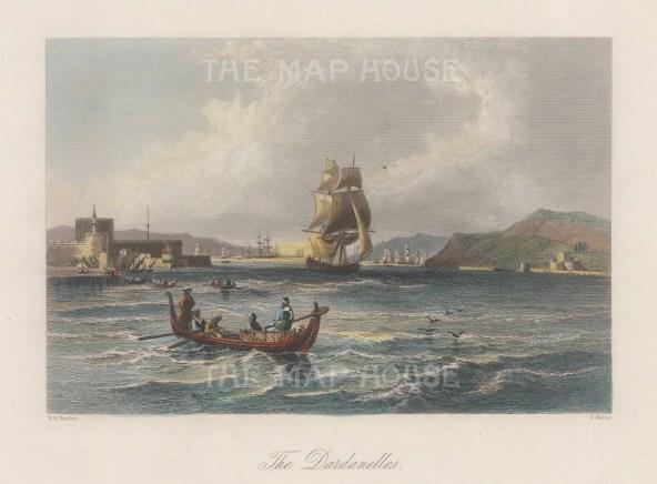 "Bartlett: Dardanelles. 1838. A hand coloured original antique steel engraving. 8"" x 5"". [TKYp1344]"