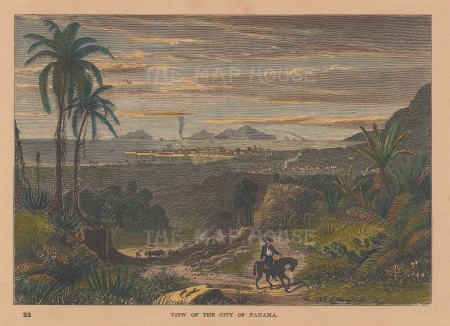 "Brown: Panama City, Panama. 1885. A hand coloured original antique wood engraving. 8"" x 6"". [CAMp130]"