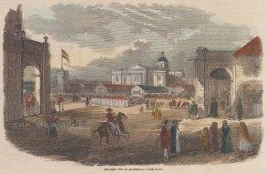 "Illustrated London News: Guatemala City, Guatemala. 1856. A hand coloured original antique wood engraving. 10"" x 6"". [CAMp201]"