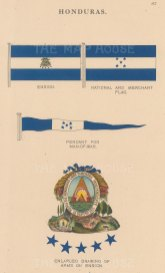 Ensign, National and Merchant flags with detail of coat of arms.