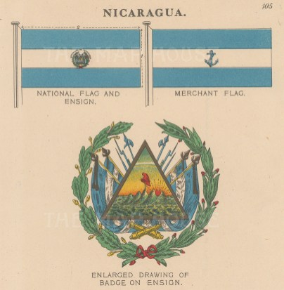 National, Ensign and Merchant flags with detail of badge.