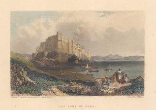 "Fullarton: Agra Fort. 1856. A hand coloured original antique steel engraving. 5"" x 4"". [INDp1544]"
