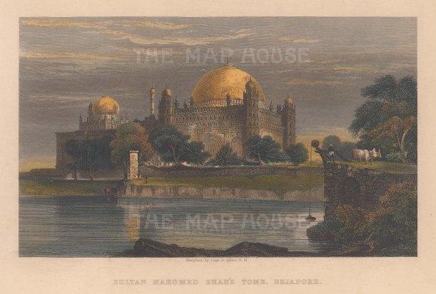 "Elliot: Sultan Mahomed Shah's Tomb, Bijapur. 1842. A hand coloured original antique steel engraving. 7"" x 5"". [INDp1548]"
