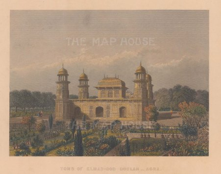 """White: Tomb of Itimad-ud-Daulah, Agra. 1838. A hand coloured original antique steel engraving. 7"""" x 5"""". [INDp1552]"""