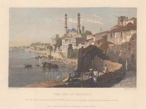 "White: Varanasi (Benares). 1838. A hand coloured original antique steel engraving. 7"" x 5"". [INDp1553]"