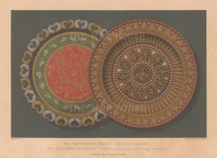Thanjavur: Enamalled bronze plate with red and silver.