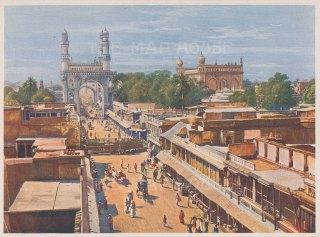 "Indian Times: Hyderabad. c1910. An original antique chromolithograph. 7"" x 5"". [INDp1560]"