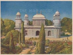 "Indian Times: Masoleum of Etmauddaula, Agra. c1910. An original antique chromolithograph. 7"" x 5"". [INDp1563]"