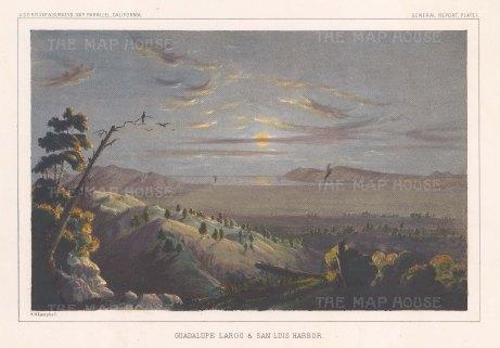 """U.S.P.R.R. Exp.: Guadalupe Largo & San Luis harbour. c1895. A hand coloured original antique lithograph. 10"""" x 7"""". [MEXp150]"""